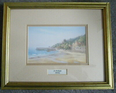 St Brelade Jersey Picture Wall Hanging Beach Scene by Diana Bowen apr 25 x 20 cm