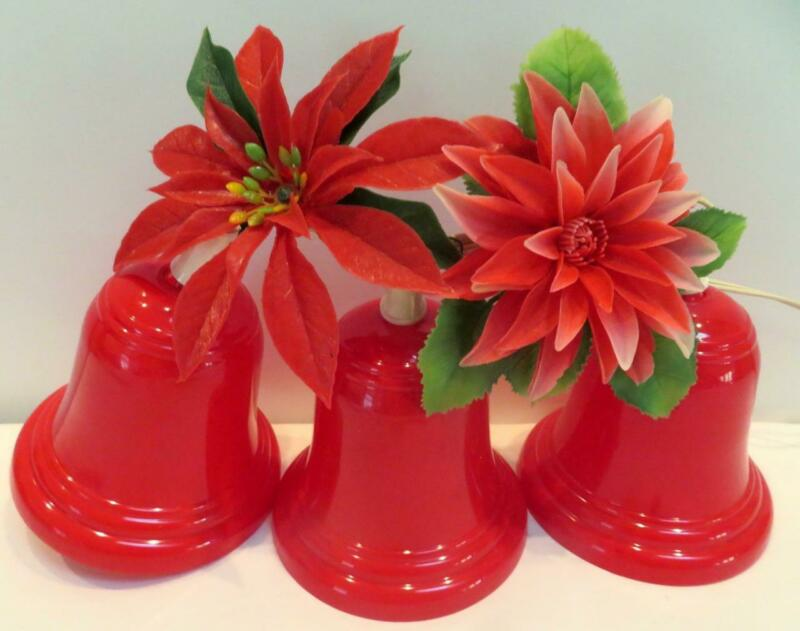 Vintage Christmas 3 Red Plastic Blinking Bells with Poinsettia Accents 5x5 in