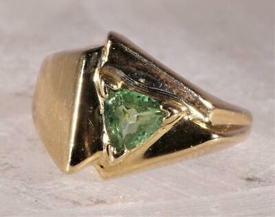 Trillion Cut Peridot Ring 14 K Yellow Gold Size 6