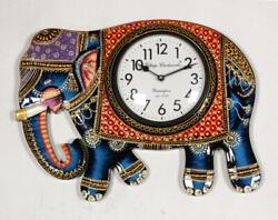Vintage Home Decor Antique Look Brass Engraving Work Wall Clock Ethnic India 301