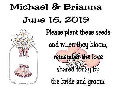 Wedding Favor Seed Packets Personalized Mason Jar Custom Favors Set of 100 (Wedding Favor Jars)