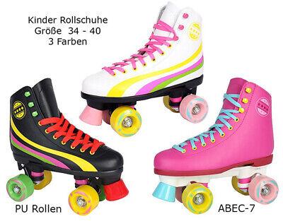 Rollschuhe Kinder NEU 34 35 36 37 38 39 40  ABEC-7 Discoroller schwarz pink ()