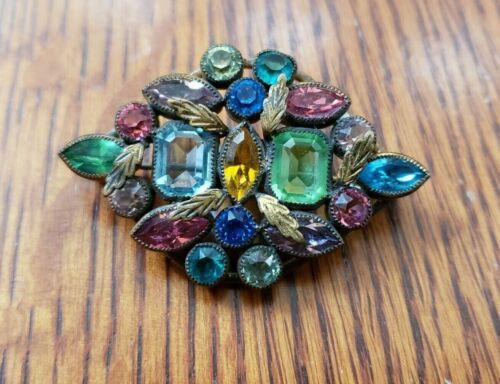 Vintage Antique Multicolor Rhinestone Brooch Pin Beautiful Jewelry