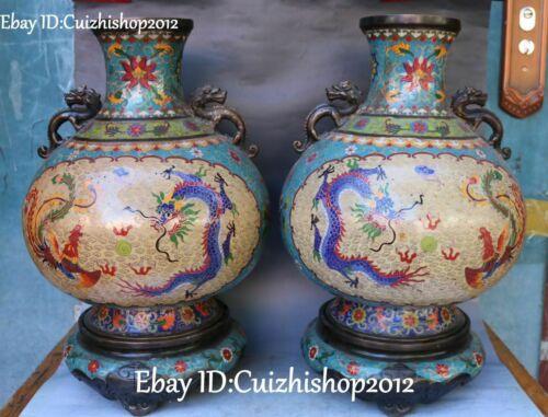 """19"""" Cloisonne Enamel Purple Bronze Palace Dragon Phoenix Bottle Vase Jar pair"""