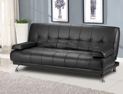 Amazing Modern Italian Venice Sofa Bed Futon - Black Faux Leather
