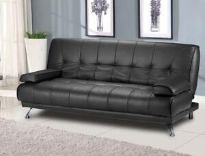 Modern Italian Venice Sofa Bed Futon  Black Faux Leather