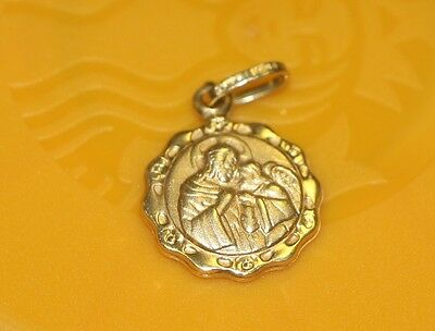P1 14K yellow GOLD Medallion PENDANT 1st Communion Italian writing on back charm 14k Gold Communion Charm