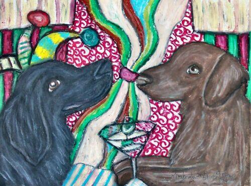 Flat Coated Retriever Coffee Art Print 5x7 Signed Artist KSAMS Vintage Style Dog