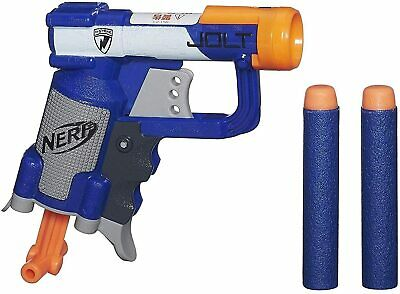 New! NERF N-STRIKE JOLT Blaster Toy Gun w/ 2 Elite Darts & Cocking Handle, Blue