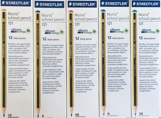 12 PACK STAEDTLER NORIS 2B - B - HB - H - 2H PENCILS SCHOOL DRAWING CRAFT JOINER