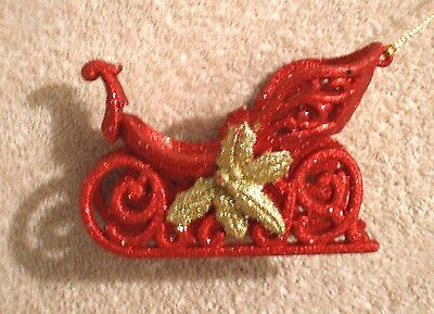 Acrylic Red & Gold Glitter Sleigh Christmas Ornament - New