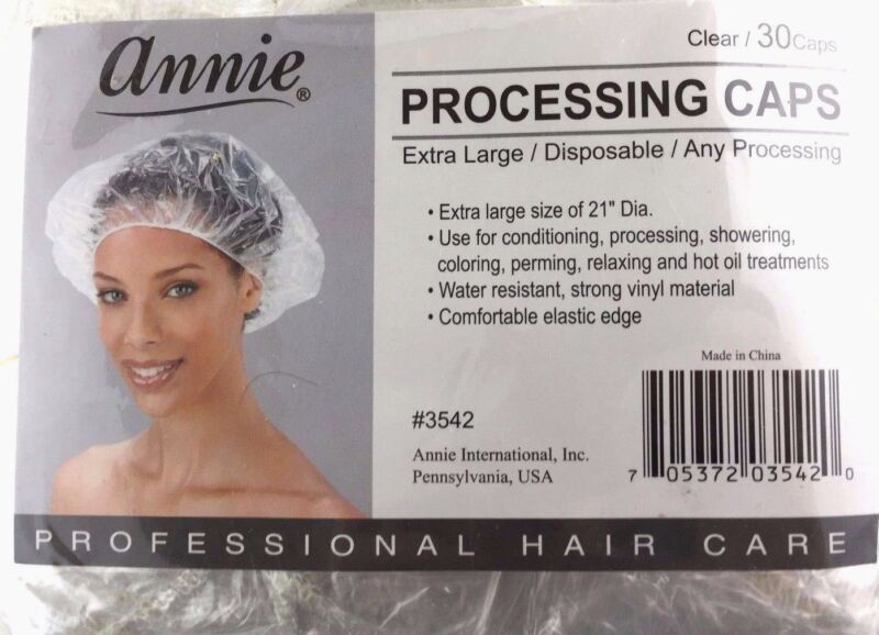 BRAND NEW ANNIE EXTRA LARGE CLEAR DISPOSABLE PROCESSING CAPS #3542 30caps