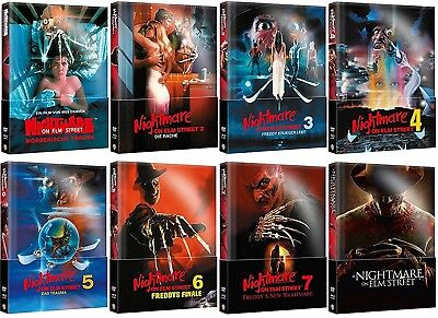 Nightmare on Elm Street 1-8 Mediabook Set Wattiert Komplett Neu Originalverpackt ()