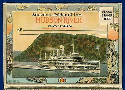 Hudson River New York souvenir Postcard Folder 1920s Souvenir Postcard Folder