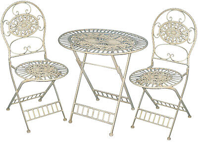 Garden Furniture - 3 Piece Patio Garden Furniture METAL Outdoor BISTRO Table Chair Pool Seating