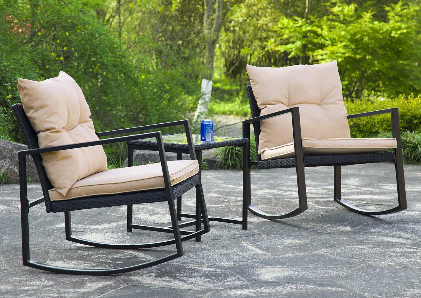 3 Pieces Patio Set Outdoor Wicker Patio  Sets Rocking  Coffee Table ,Black Dining Sets
