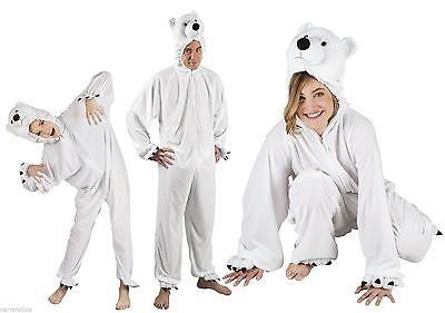 Eisbär Kostüm Overall Plüsch Tier Eisbärkostüm Polarbär Eisbäroverall Bär (Eisbär Kostüm)