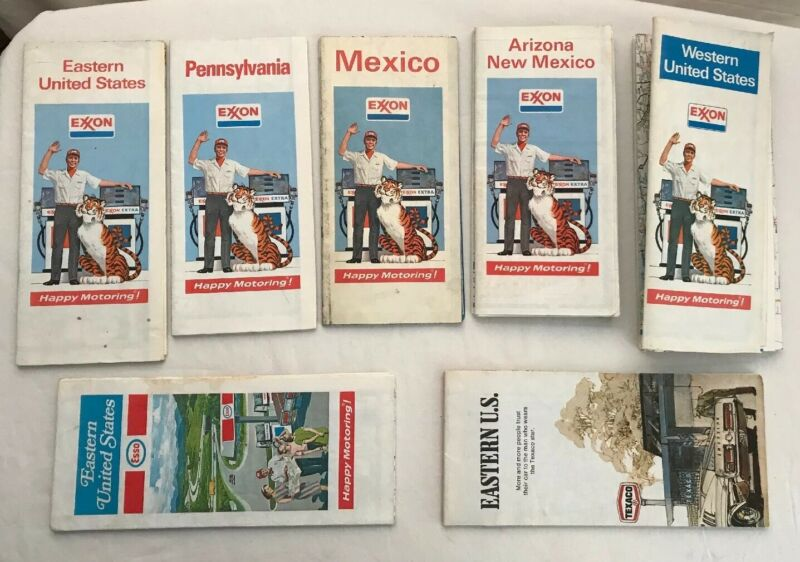 Vintage Map Lot (7) of  EXXON Oil Company/ ESSO/ TEXACO 1970s Road Maps