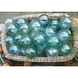 "Japanese GLASS Fishing FLOATS 3.5"" LOT-9 Round Net Buoy BALLS Authentic Vintage"
