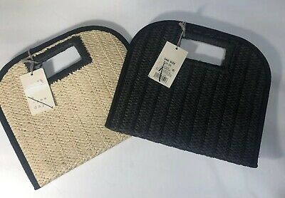 A New Day Natural Straw Or Black Woven Clutch Handbag Cut Out Handle NWT!