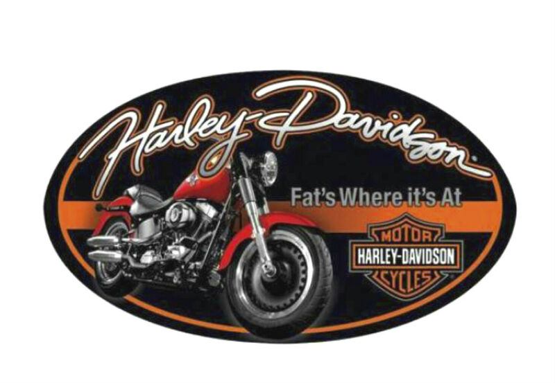 Harley-Davidson® 18 x 10.5 inch Fat Boy® B&S Oval Embossed Tin Sign 2010941
