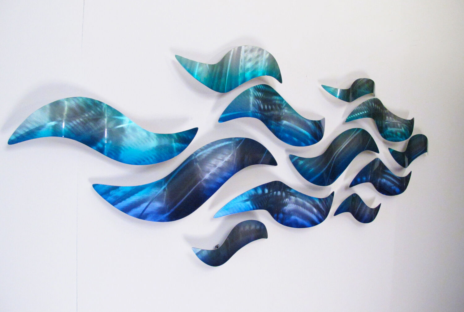 Blue Abstract Wall Decor : Large metal wall sculpture modern abstract art blue wave