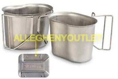 GENUINE US MILITARY STAINLESS BUTTERFLY WIRE HANDLE CANTEEN CUP MINT