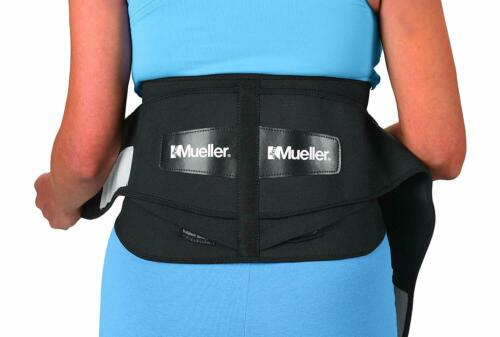 """Mueller 255 Lumbar Support Back Brace with Removable Pad, Black, Regular 28""""-50"""""""
