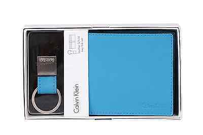 New Calvin Klein Men's Leather Bifold Wallet And Key Fob Set 79515 Light Blue