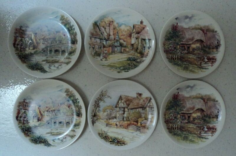 """POOLE ENGLAND Pottery Hand Painted Plates - Set of 6 - SCENIC RURAL VILLAGE 8.5"""""""