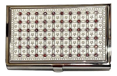 Bejeweled Silvertone Metal Business Card Holder Case With Pink Crystals