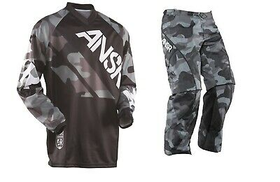 NEW Answer Racing A15 Mode Pant Jersey Set Black Camo MX off road riding gear Mode Off Road Pants