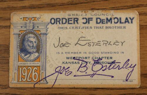 Demolay 1926 Membership Card - Westport Chapter Kansas City MO