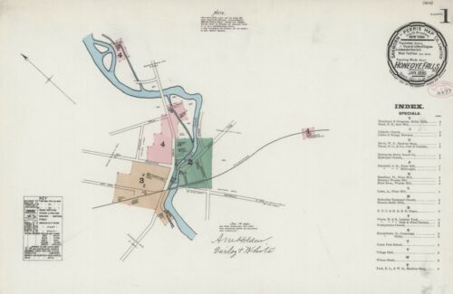 Honeoye Falls, NY,  New York~Sanborn Map©sheets ~1884, 1890, 1897 in full color