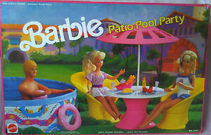 Vintage 1990 Patio Pool Party Barbie Doll Furniture Playset New Ebay