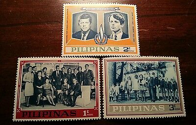 Kennedy brothers Philippines Stamps 1c 2c 3c Set JFK Excellent condition Rare
