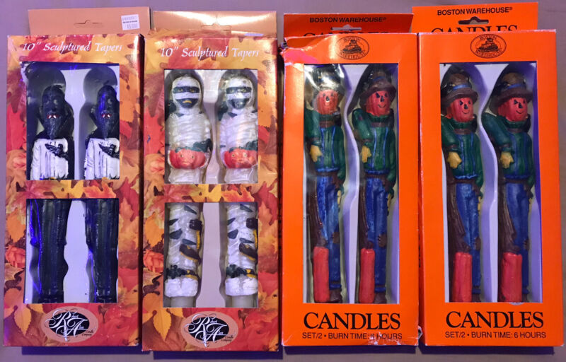 "Vintage Robert Alan & Boston Warehouse Halloween 10"" Tapper Candles Set"