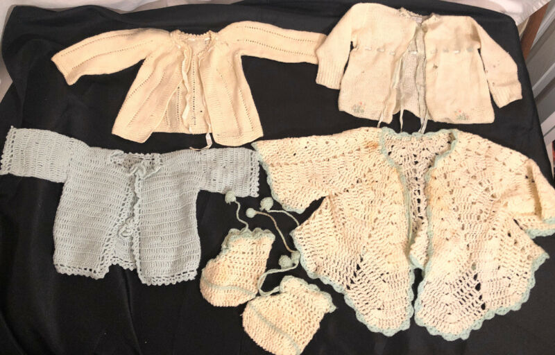VINTAGE HAND CROCHET Knit Baby Sweater Cardigan JACKET BONNET DOLL Clothes Lot