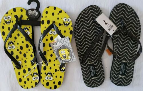 2 Pair NWT Nickelodeon And Mossimo Size 7 Womens Flip Flops