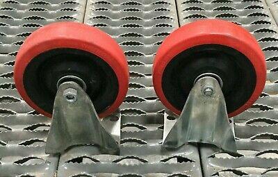 Lot Of 2 Colson 5 Rubber Caster Wheel W Mounts Non Swivel