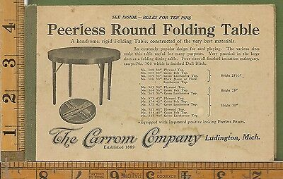 THE CARRON EST 1899 ADVERTISING BOOKLET WITH RULES FOR 10 PINS GAME BOARDS