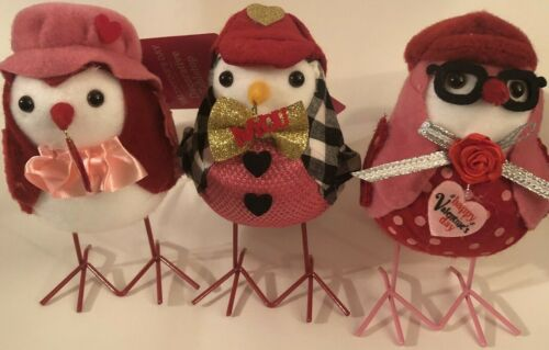 2021 Walmart Valentines Table Top Decor Fabric BIRDS -Lot Set of 3 HTF Metal Leg