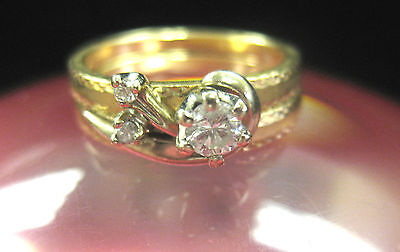 14K SOLID GOLD WEDDING SET WITH .20 CT DIAMOND SIZE 5
