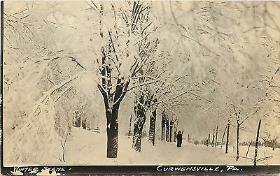 Rppc Postcard Winter Scene State Street Curwensville Pa Clearfield County