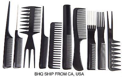 10pcs Black Professional Combs Hairdressing Hair Salon Styling Barbers Set Kit