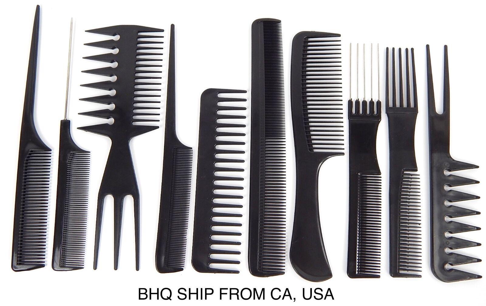 10pcs Black Professional Combs Hairdressing Hair Salon Styli
