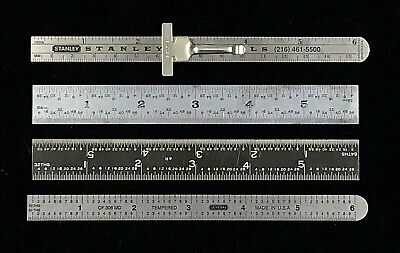 Lot Of 4 - Vintage Stainless Steel 6 Rulers - Stanley Arch General Tool