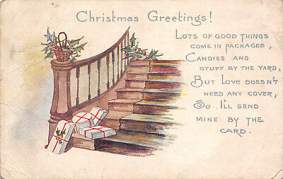 Greetings Postcards Package - Christmas Greetings c1915 Postcard Packages at Base of Staircase
