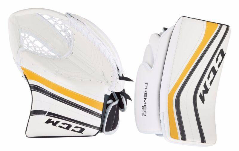 New CCM Premier R 1.5 senior ice hockey blocker glove catcher yellow Sr. goal