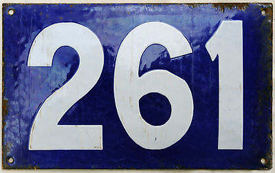 Giant old blue French house number 261 door gate plate plaque enamel metal sign